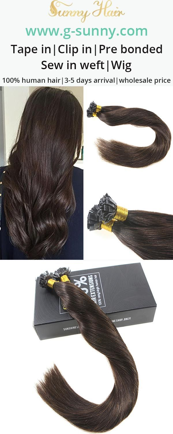 Sunny Hair 100% real human hair extensions, keratin fusion flat tip human hair extensions, darkest brown hair color. Professional salon quality human hair extension factory directly selling with wholesale price. www.g-sunny.com