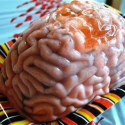 A pinkish-white brain with painted veins, made of peach gelatin and peach schnapps, makes the creepiest shooter ever.