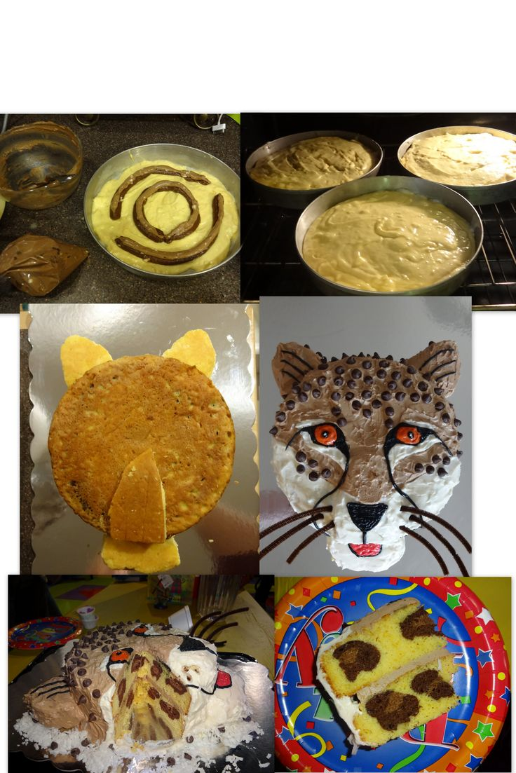 Cheetah cake. Inside and out! (There is a youtube video on how to make the inside of the cake.)