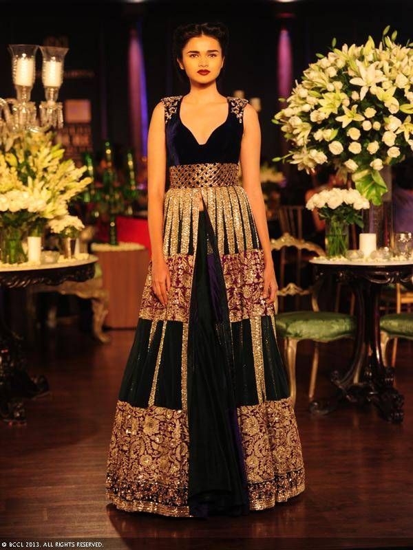 Black and plum lengha by Manish Malhotra at Delhi Couture Week 2013