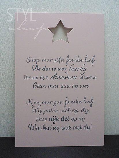 Tekstbord Fries/Frysk - Sliep mar sêft... - Styl*Shop ...