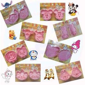 Cetakan Roti Kue Kering Cutter Cookies 2 in 1 Motif Karakter Lucu Doraemon Dorami Mickey Minnie Mouse Rabbit Bunny