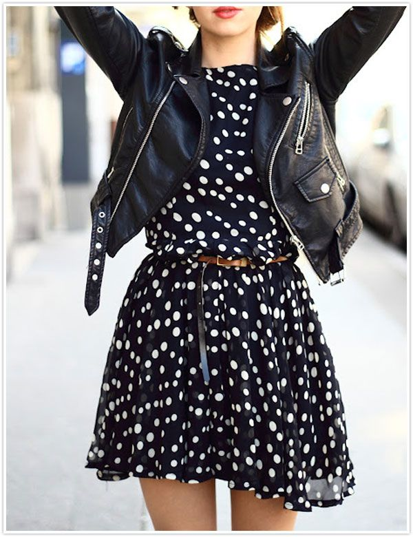 obsessed with the polka dot dress juxtaposed with leather jacket