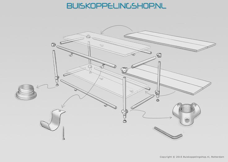 Wij raden aan om het TV meubel in buisdiameter 33,7 mm of 42,4mm uit te voeren. Wij adviseren de overspanning (breedte) niet groter dan 250cm te maken. Dat maakt de kans op doorhangen van de buizen kleiner. Voor de bevestiging van de houten delen kan i.p.v. de kapbeugels ook worden gewerkt met oogdelen enkele lip.  www.buiskoppelingshop.nl