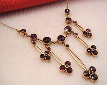 Superb Edwardian Garnet Festoon 14k Gold Pendant Necklace