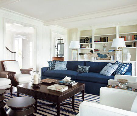 Navy blue and white living room decoration
