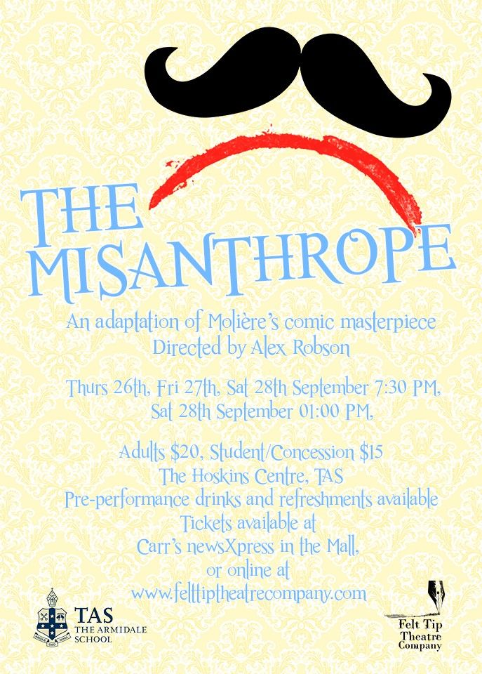 Poster for Felt Tip Theatre Company's production of 'The Misanthrope' by Moliere