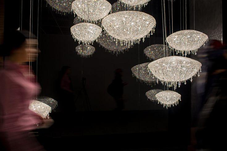Light + Building 2014, Iceberg composition www.manooi.com #Manooi #Chandelier #CrystalChandelier #Design #Lighting #exhibition #LightBuilding
