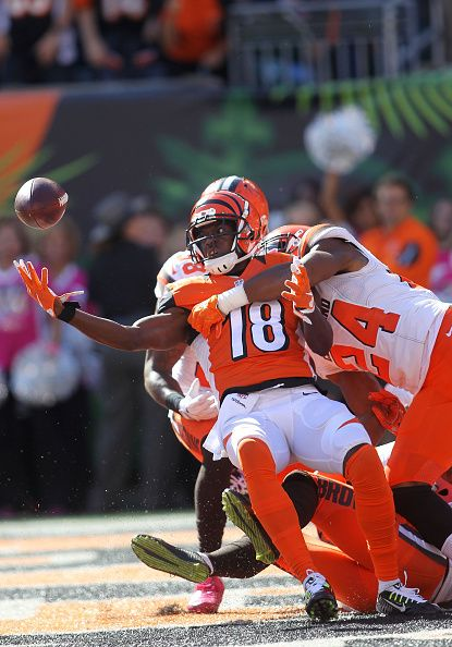 Browns vs. Bengals:     October 23, 2016  -  31-17, Bengals  -      A.J. Green #18 of the Cincinnati Bengals catches a hail marry pass for a touchdown at the end of the second quarter of the game while being defended by Ibraheim Campbell #24 of the Cleveland Browns at Paul Brown Stadium on October 23, 2016 in Cincinnati, Ohio. (Photo by John Grieshop/Getty Images)