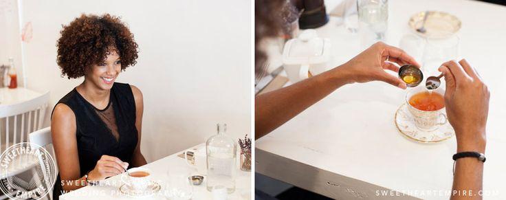 Honey with her tea... Brunch engagement photo session at L'Ouvrier Kitchen Bar. Toronto Engagement photos, same-sex wedding, restaurant engagement session. #sweetheartempire #sweetheartempirephotography