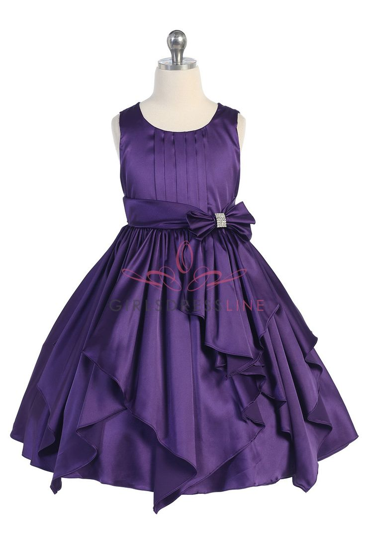 Purple Charmeuse Layered Ruffled Flower Girl Dress A3516-PP A3516-PP $46.95 on www.GirlsDressLine.Com