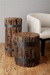 Made with reclaimed materials railway ties our bundle stool makes for quick & stylish extra seating or an easy side table.  A must-have!