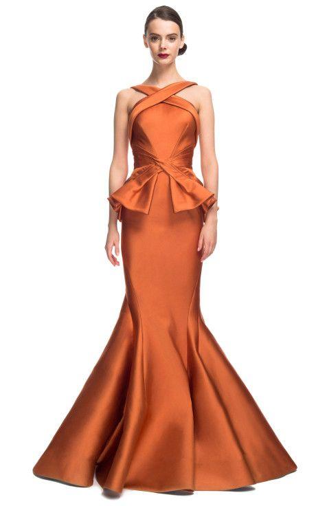 Rust Stretch Duchess Gown by Zac Posen for Preorder on Moda Operandi