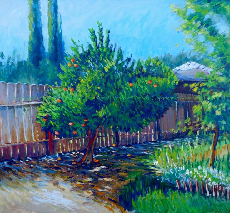 fog wall, yard fence, acrylic/gessoed board, 34 x 30.5 in.  GalleryPreviewOnLine.com  Copyright (c) Vanessa Hadady