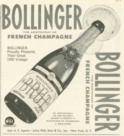 Bollinger Brut French Champagne Ad 1955 (1961)