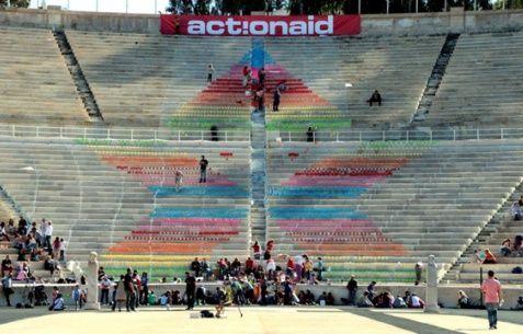 Action Aid: Ετών 15 Γιόρτασε με τη δημιουργία ενός χαρτογκράφιτι αλληλεγγύης στο Καλλιμάρμαρο