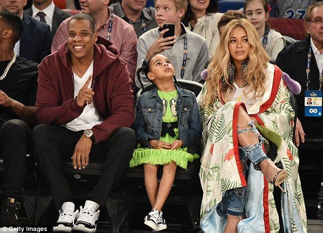 Taking in the game: He was last seen at the 66th NBA All-Star Game at Smoothie King Center on Sunday in New Orleans with his pregnant wife Beyonce and their daughter Blue Ivy