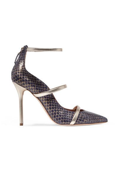 Malone Souliers - Metallic Leather-trimmed Elaphe Pumps - Navy - IT