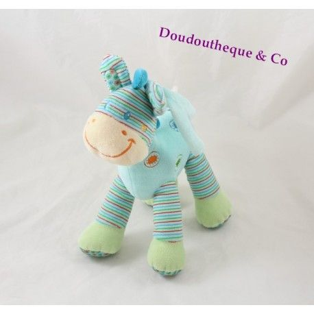 Peluche musical zèbre cheval NICOTOY bleu rayures Simba Toys