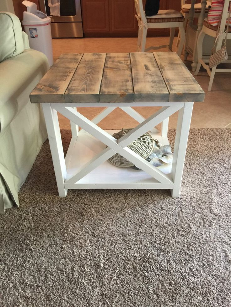 Custom Rustic Farmhouse End Table By TheWoodMarket On Etsy Https://www.etsy Part 95