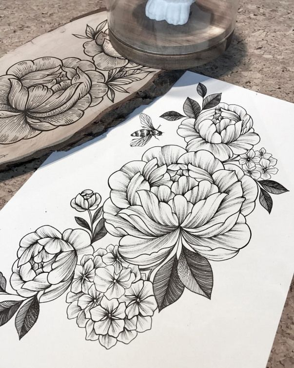 Peonies And Hydrangea Composition Linework Blackwork Sketch Done By Giulia Eightlines Blackwo Hydrangea Tattoo Peony Flower Tattoos Peonies And Hydrangeas