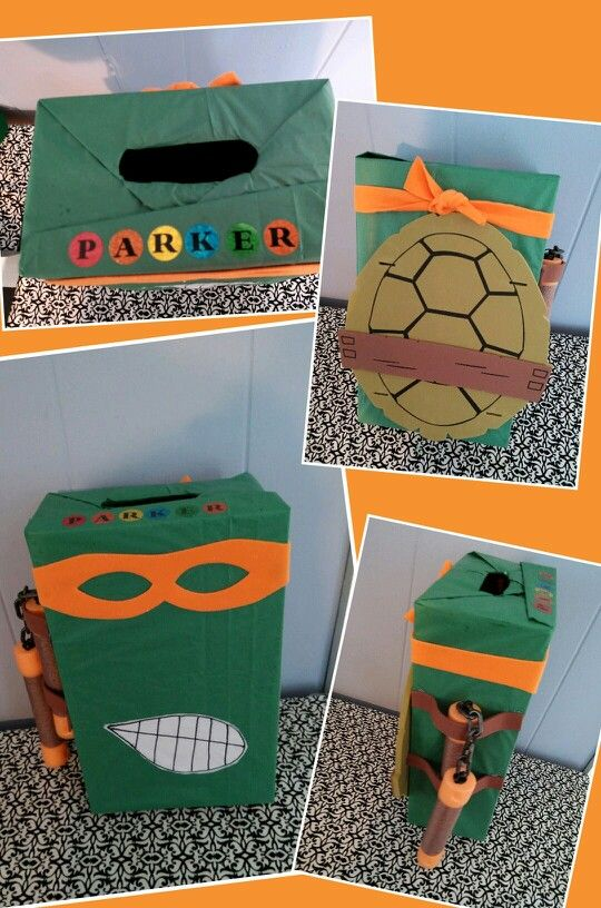 ninja turtle valentines day box for a boy made from a shoebox - Valentines Day Boxes For Boys