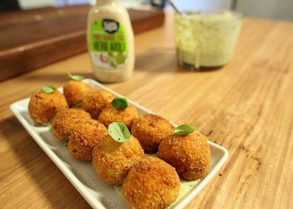 Chorizo _ Potato Croquettes with basil aioli recipe - The Cooks Pantry