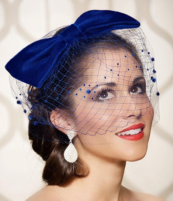 Velvet Cobalt Royal Blue Bow Cocktail Hat