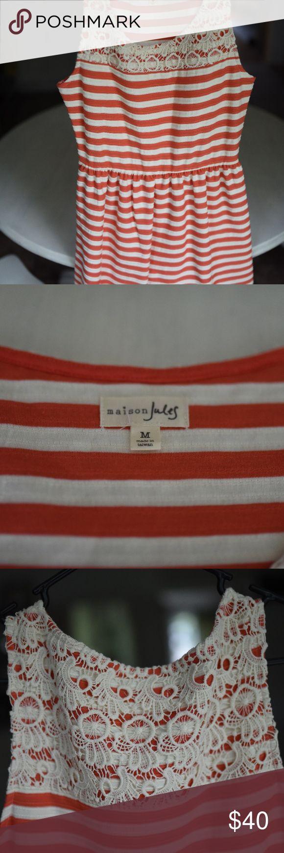 Maison Jules Striped Mini Dress Beautiful orange and white striped dress, gorgeous lace detail. Medium. Never worn, but no tags. Maison Jules Dresses Mini
