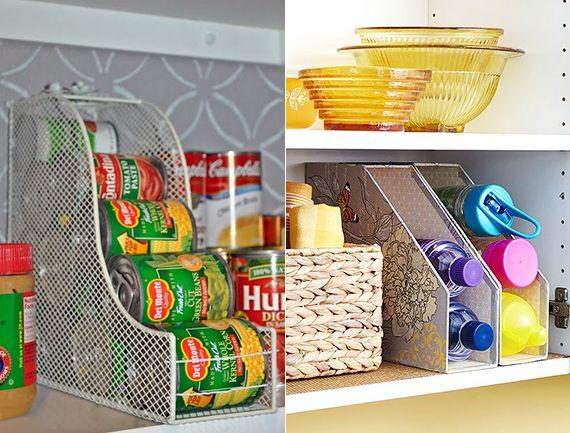 zeitschriftsammler für platzsparende aufbewahrung von dosen_kleine küche aufräumen
