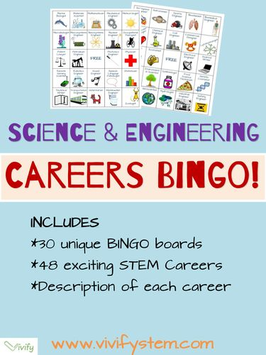 A BINGO career game for science, technology, engineering, math (STEM) careers! Includes career descriptions and fun facts about each career. American and UK versions available.