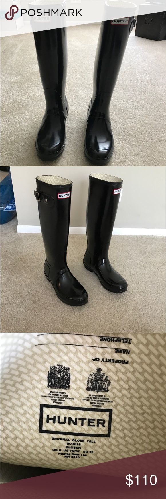 Black Gloss Hunter Boots/ Side Buckle. Classic Black Hunters. Worn once! Glossy and awesome. :) Hunter Boots Shoes Winter & Rain Boots