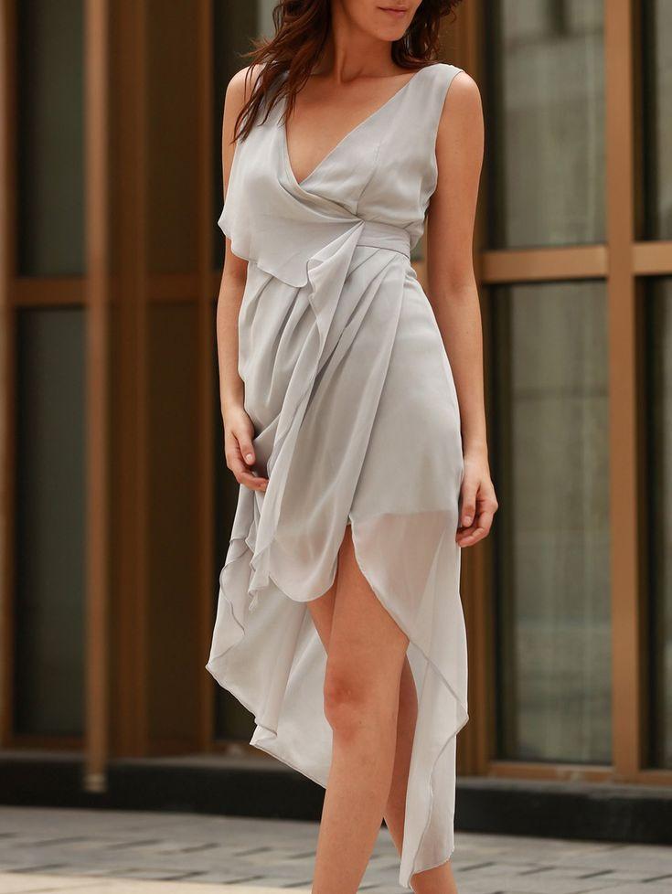 soft and draped grey dress
