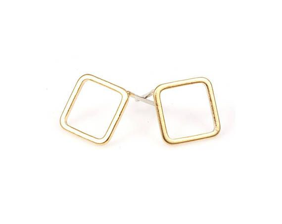 4pcs  Diamond Earring in Matte Gold / gold plated / 92.5