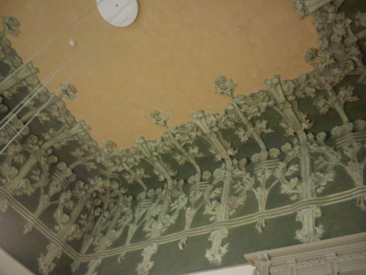 #invasionidigitali #cernobbiovillabernasconi (26 aprile 2013, ) particolare del decoro floreale in stucco del soffitto dell'atrio della Villa Bernasconi, la villa della seta, gioiello liberty di Cernobbio Fotografato da Cristina Moreschi — presso Villa Bernasconi Cernobbio.