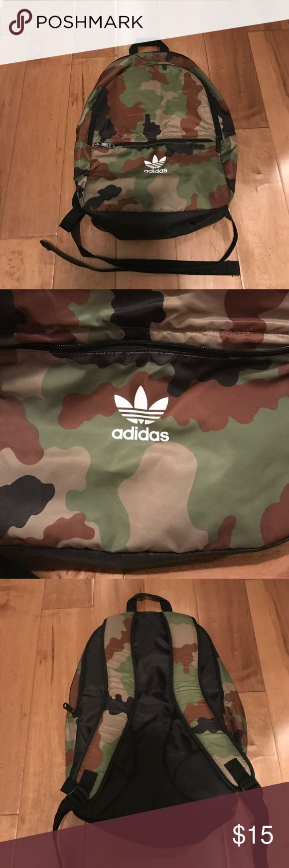 "Adidas Camo Backpack Adidas Camo backpack used a few times. Just slight signs of wear in front. 18"" long and 12"" wide. Adidas Bags Backpacks"