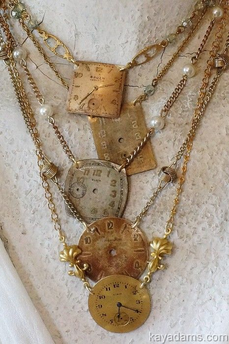 This necklace shows an excellent use for old watch faces ................................................Please visit us at Cybelle.com.au