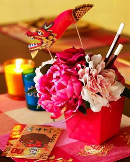 Chinese new year decorations flower arrangements and for Asian party decoration