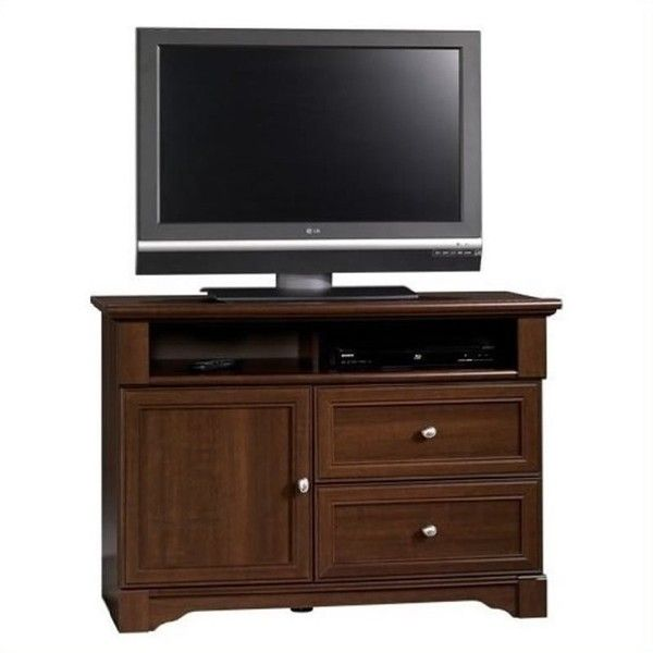 Sauder Palladia Highboy TV Stand ($231) ❤ liked on Polyvore featuring home, furniture, storage & shelves, entertainment units, cherry, audio shelving, cherry finish tv stand, audio video shelves, audio shelf and sauder shelving