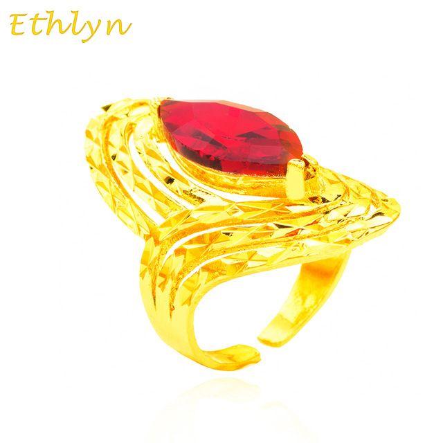 Ethlyn Novo Etíope Pedra Vermelha Anel de Casamento para As Mulheres 22 k Anel Banhado A ouro África eritreia Moda Anel da jóia Do Oriente Médio R005