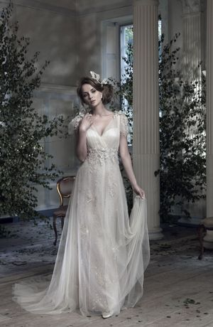 Ian Stuart - V-Neck Sheath Gown in Tulle