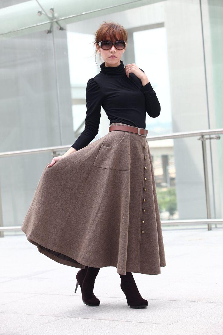Graceful Camel Wool Big Sweep Long Maxi Skirt - NC199. $89.99, via Etsy.