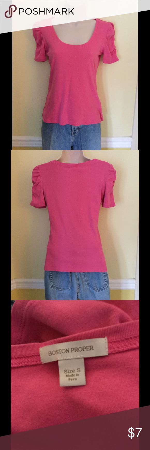 Boston Proper pink short sleeves top, size small Pink top with rounded neckline and gathered short sleeves by Boston Proper. Size small, 100% Pima cotton. Boston Proper Tops Tees - Short Sleeve