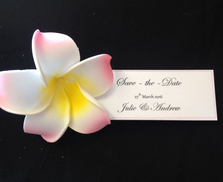 A personal favourite from my Etsy shop https://www.etsy.com/listing/227123445/pink-frangipani-save-the-date-lrg
