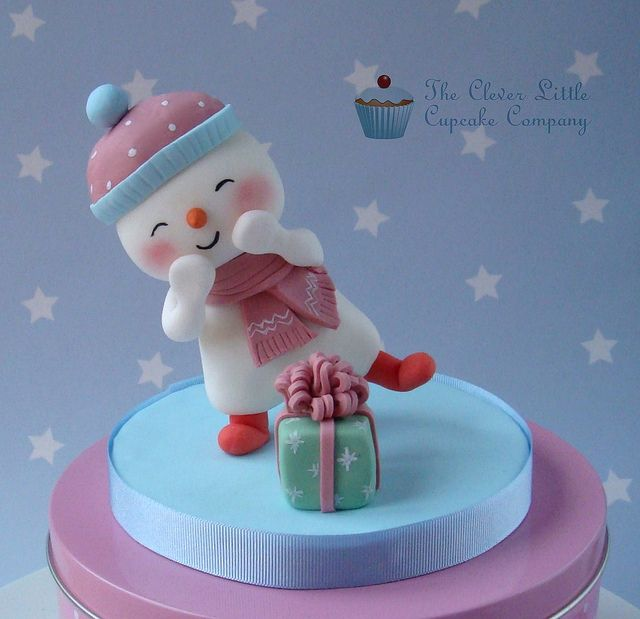 Happy Snowman Christmas Topper by The Clever Little Cupcake Company, via Flickr