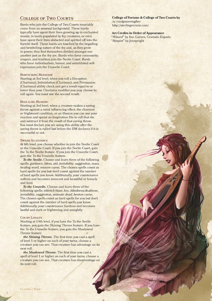 Homebrew material for 5e edition Dungeons and Dragons made by the - college