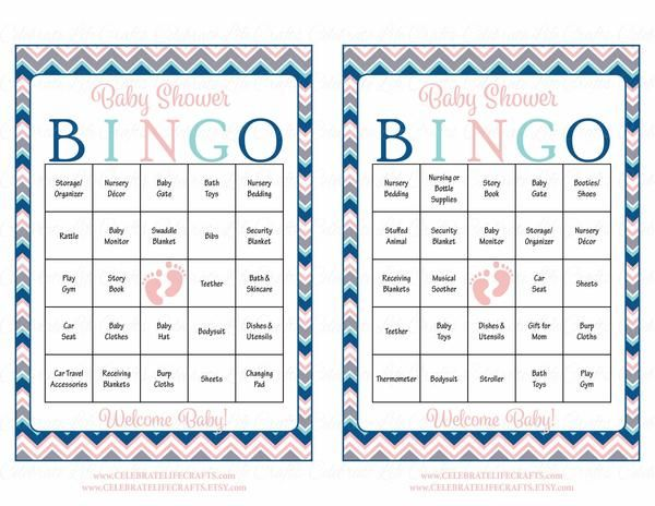 Baby Shower Bingo is played as mommy-to-be opens her gifts! This beautiful chevrons baby shower theme is perfect for a baby girl shower. INSTANT DOWNLOAD – You