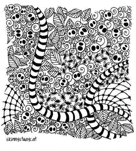 tangle with skulls