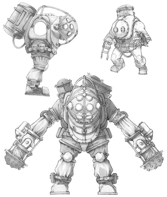 BioShock Art & Pictures,  Big Daddy Sketches 2