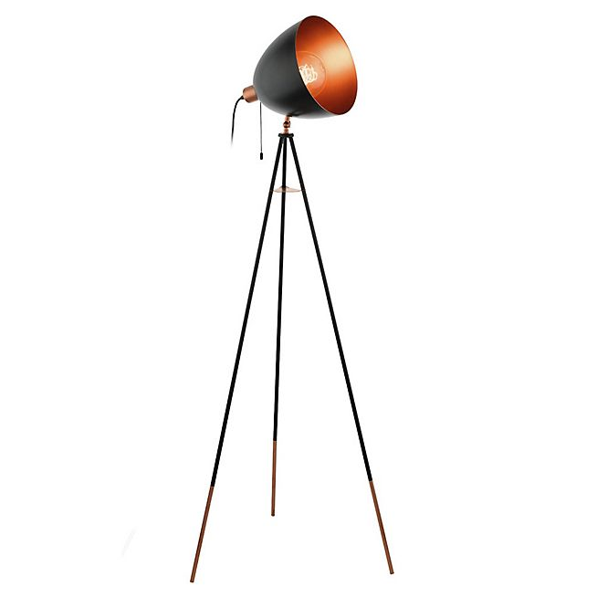 Chester Lampadaire forme projecteur en acier noir et cuivre H135cm